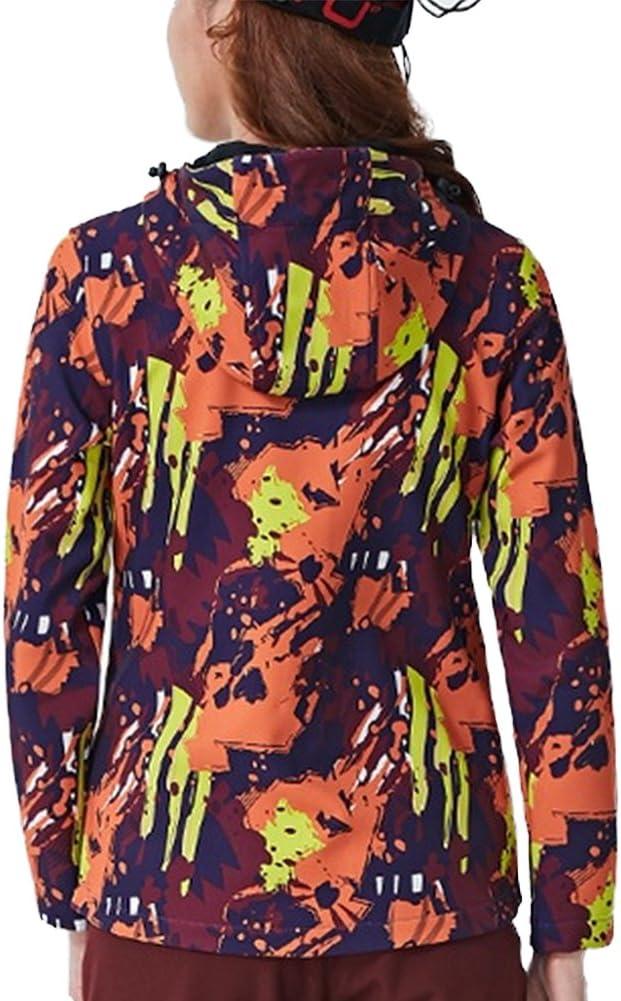 GITVIENAR Veste Outdoor Femme Softshell /à Capuche Polaire Chaud Camouflage Vestes l/ég/ères Imperm/éables Jacket pour Camping Randonn/ée