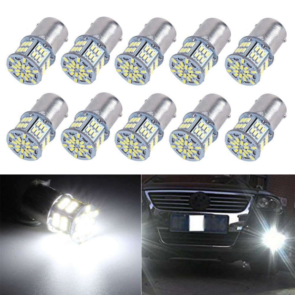 XT AUTO 10x 1156 1141 1003 3014 54-EX Chipsets Led Replacement Light Bulb For Back Up Reverse Brake Tail RV light Xenon White