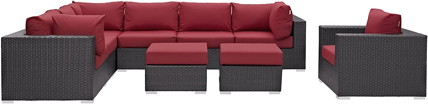 Modway Convene Wicker Rattan 9-Piece Outdoor Patio Sectional Sofa Furniture Set in Espresso Red