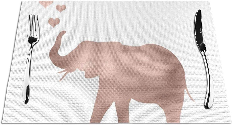 Yesliy - Juego de 6 manteles individuales, lavables, resistentes al calor, antideslizante, tejido de PVC, para jardín, barbacoa al aire libre, elefante amor, lámina de oro rosa