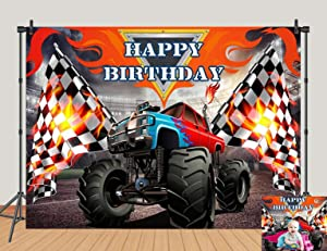Monster Truck Theme Happy Birthday Party Photography Backdrops Decor Grave Digger Racing Car Photo Background Vinyl 5x3ft Black and White Flags Banner Boy Baby Shower Studio Props