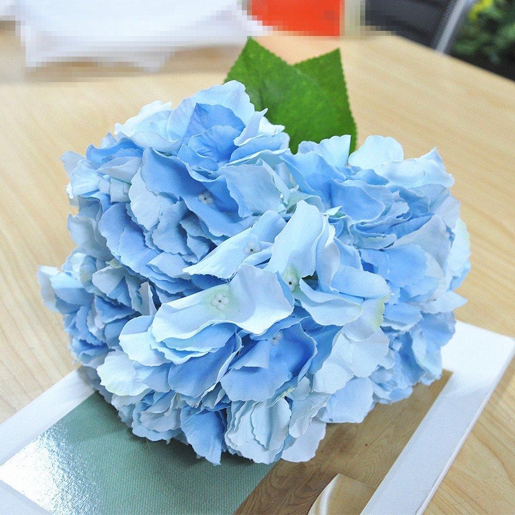 shine-co照明shine-co人工アジサイ花5 Big Headsブーケ美しい花のOfficeホームパーティー装飾 ブルー SC 61 B07CVG9VB2  ライトブルー