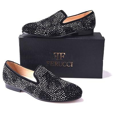 38a43daa4ee FERUCCI Men Black Slippers Loafers Flat with Crystal GZ Rhinestone (7)