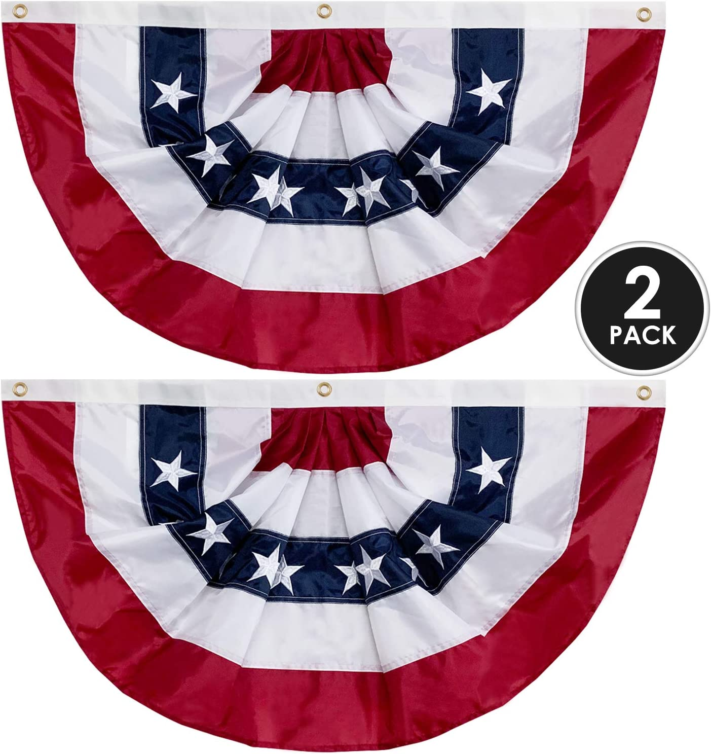 "58""x27"" USA Patriotic Nylon Bunting Pleated Flag, 2 Sided, Embroidered Stars, Sewn Stripes, Grommets- July 4th American Flag Decor Outdoor Use- Inside Outside Porch Rail or Window Decoration (2 Pack)"