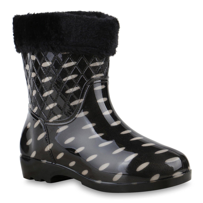1df556adcdc45e Damen Gummistiefel Wasserdichte Stiefel Regen Lack Stiefeletten  Gummistiefeletten Boots Schuhe 128137 Schwarz Weiss 39 Flandell  Amazon.de   Schuhe   ...