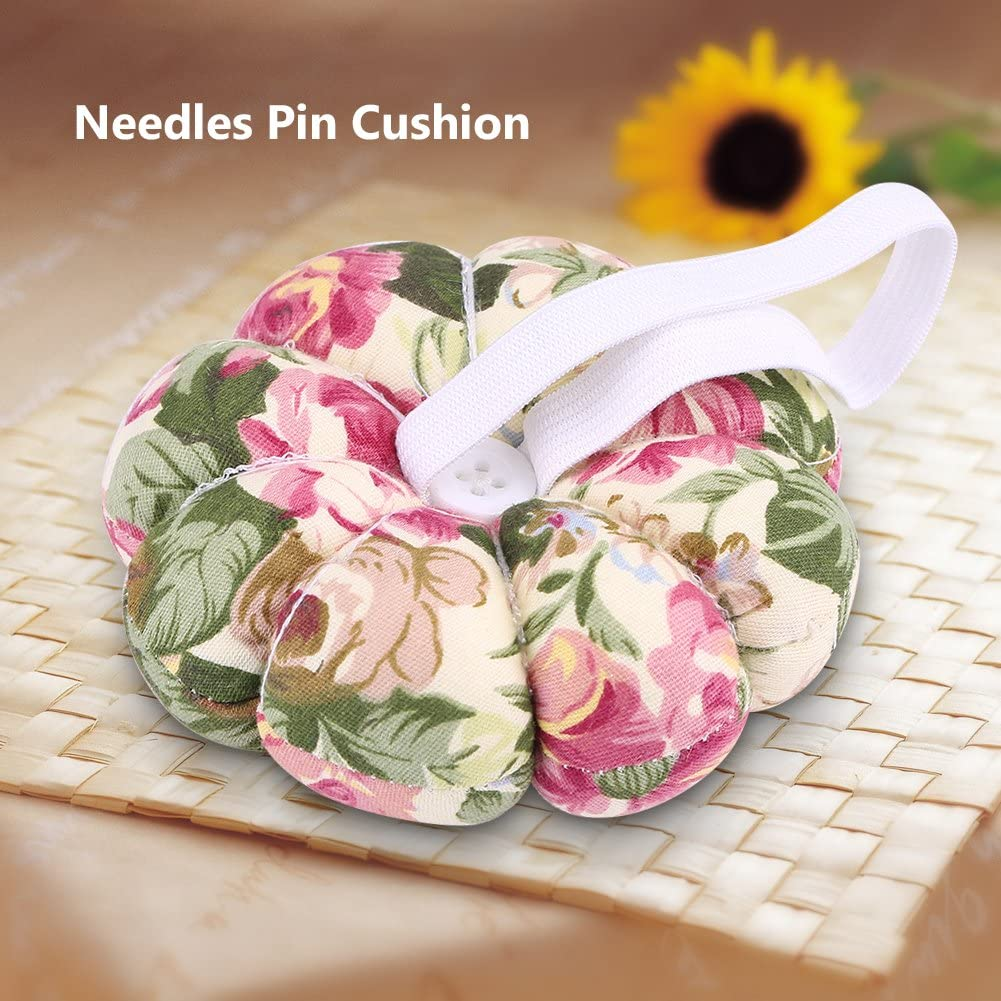 4# Fabric Fully Padded Sewing Pin Cushion Ultra Soft DIY Wrist Pin Pad with Elastic Wrist Belt Pumpkin Shape Wearable Pin Quilting Holder for Home Needlework