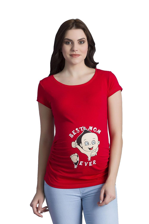 Best Mom Ever - Para Mujer Camiseta de manga Premamá T-Shirt Estampado Bebé Travieso