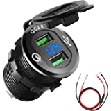 Quick Charge 3.0 Car Charger, CHGeek 12V/24V 36W Waterproof Dual QC3.0 USB Fast Charger Socket Power Outlet with LED Digital Voltmeter for Marine, Boat, Motorcycle, Truck, Golf Cart and More