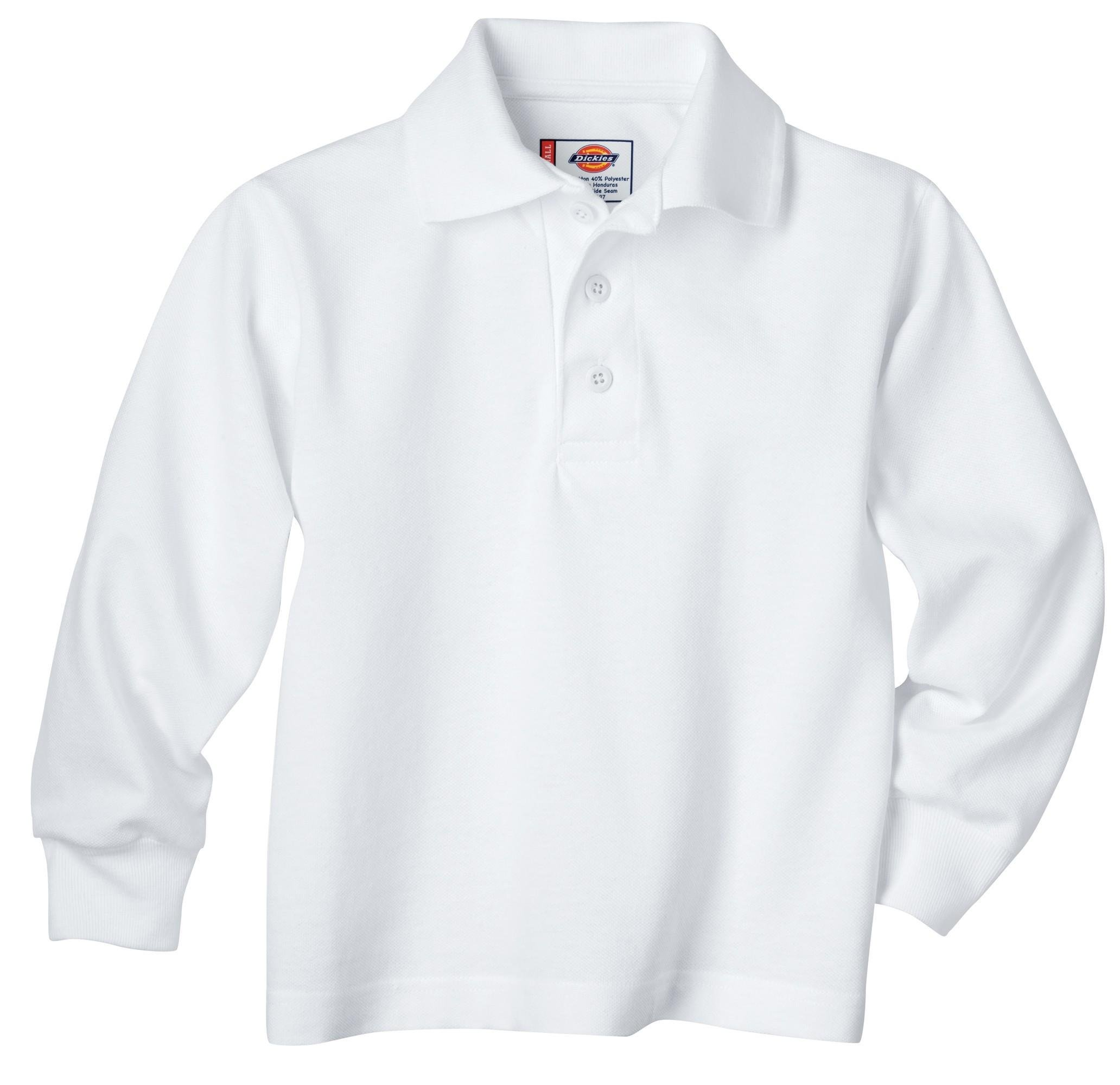Dickies Big Boys' Uniform Long Sleeve Performance Polo Shirt, White, Large