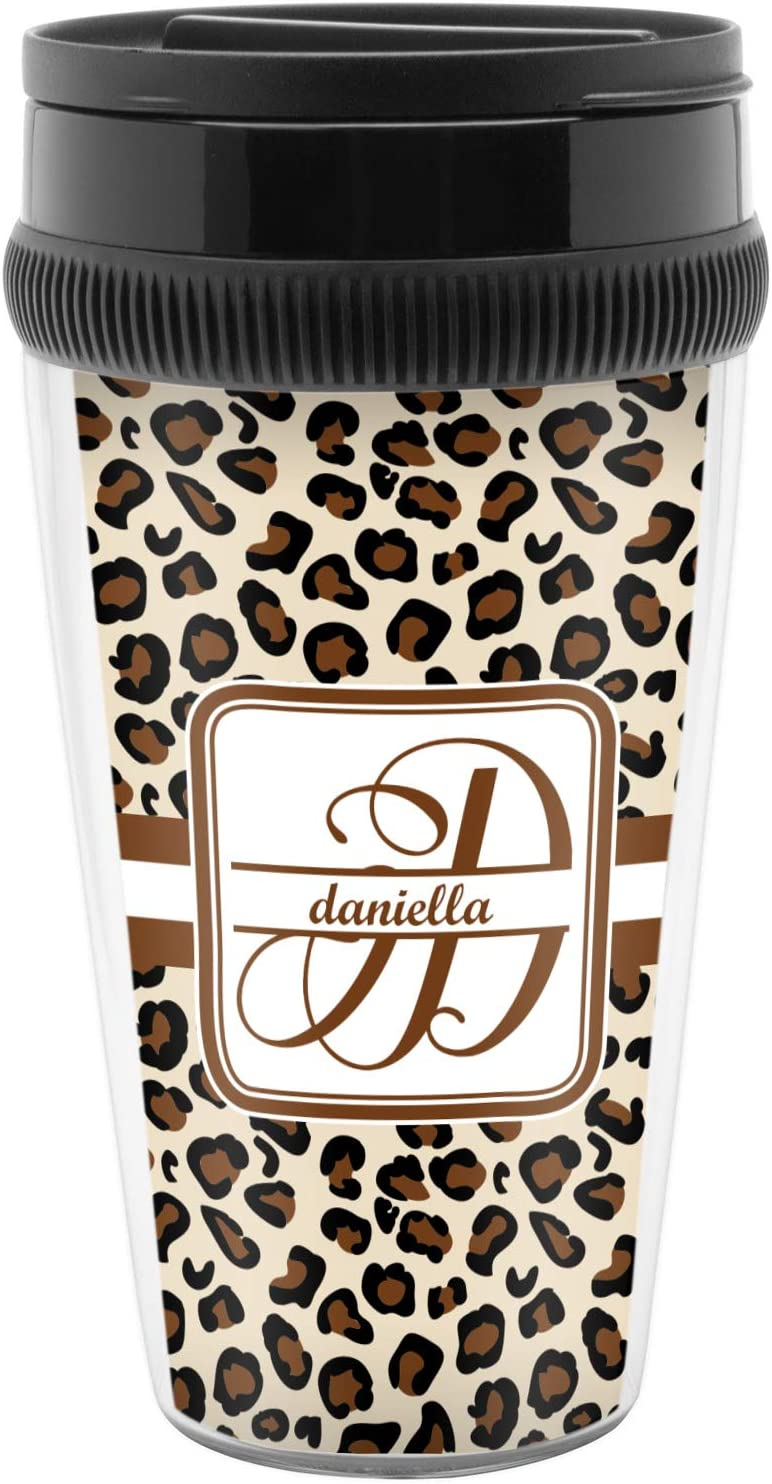 Amazon Com Leopard Print Acrylic Travel Mug Without Handle Personalized Kitchen Dining