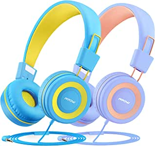 Mpow CH8 Kids Headphones (2-Pack), Foldable Wired Cord On-Ear Headsets, Safety Volume Limited, Comfortable and Durable Earphones w/Audio Splitter for Toddlers/Children/School/Travel/Plane