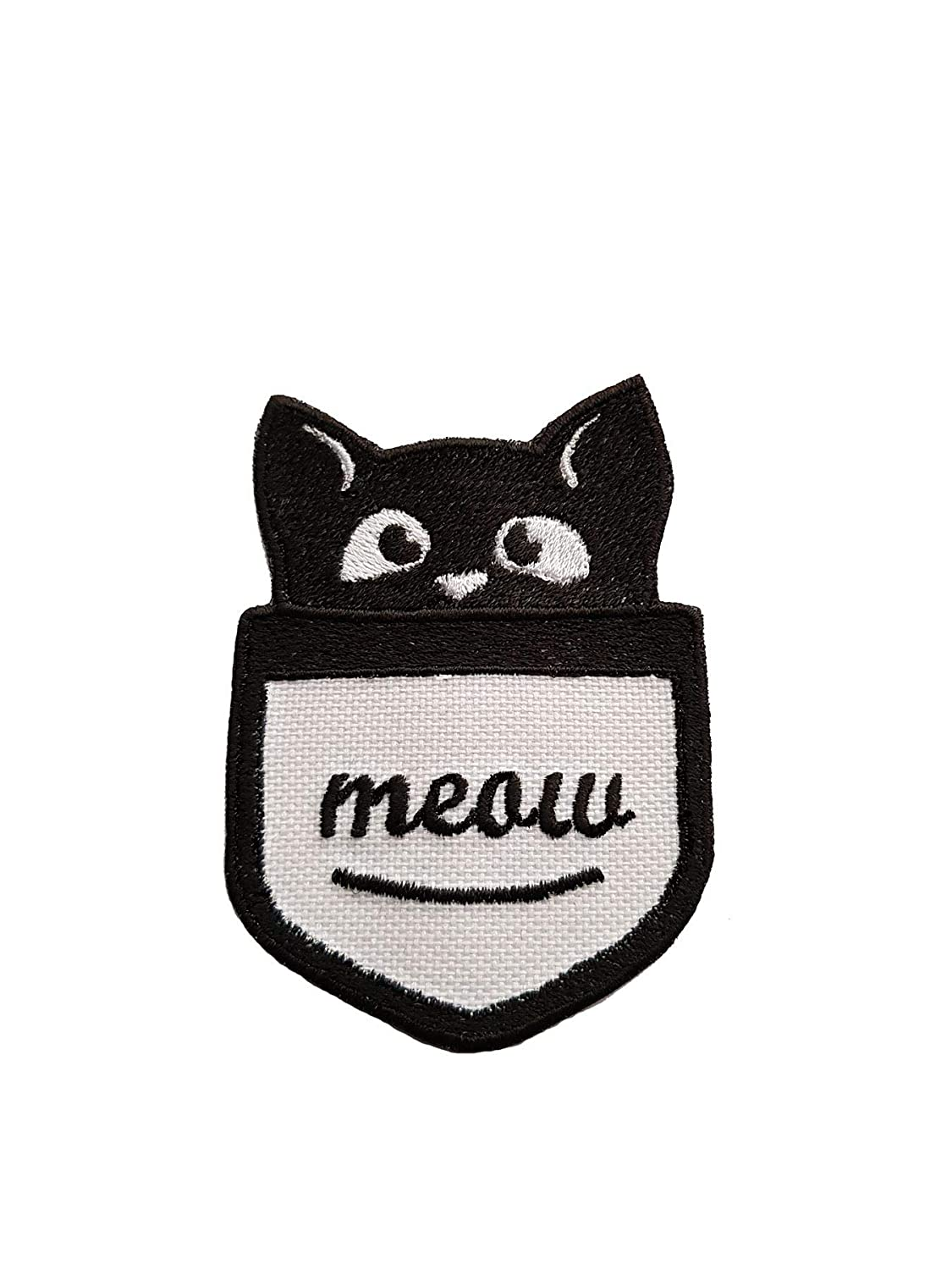 Amazon com: Cute Pocket Cat Iron On Embroidered Patch Sew On