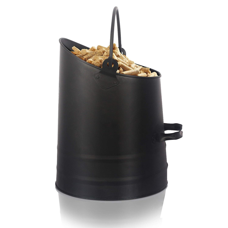 Ora-Tec Pelleteimer Kohlekorb – 24 x 25-33 x 25 cm aus Stahl – Kohlenschütte schwarz mit Henkel & klappbarem Griff - Kohlenfüller rund - Pelletschütter für Kohle & Pellets Pelletksorb Kohleneimer