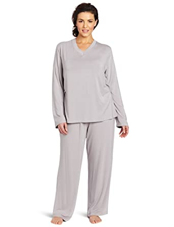 Casual Moments Women s Plus-Size Pajama V-Neck Set at Amazon Women s  Clothing store  Bamboo Pajamas Women Plus Size 94b83f20e