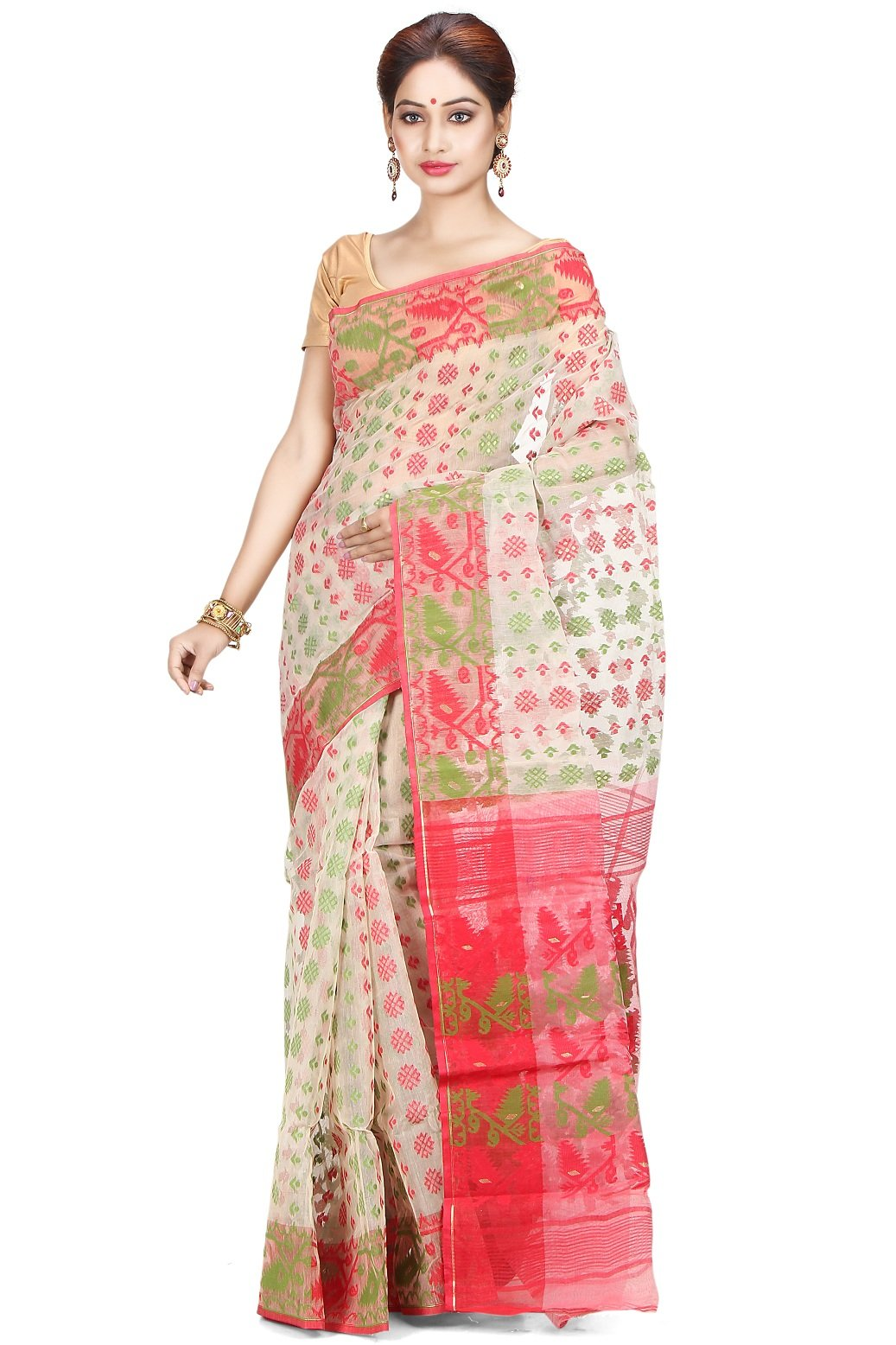 Indian Ethnic Silk Cotton Jamdani Red Handloom Saree