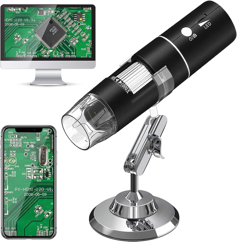 WiFi Microscopio Digital,HEYSTOP 1080P HD 2MP Mini Cámara,Aumento de 50 a 1000x Endoscopio,8 LED USB 2.0 Microscopio Ddigital con Metal Soporte Compatible iPhone iOS Teléfono Android iPad Windows Mac