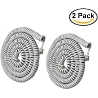 Telephone Phone Handset Cable Cord,Uvital Coiled Length 1.2 to 10 Feet Uncoiled Landline Phone Handset Cable Cord RJ9/RJ10/RJ22 4P4C(White,2 PCS)