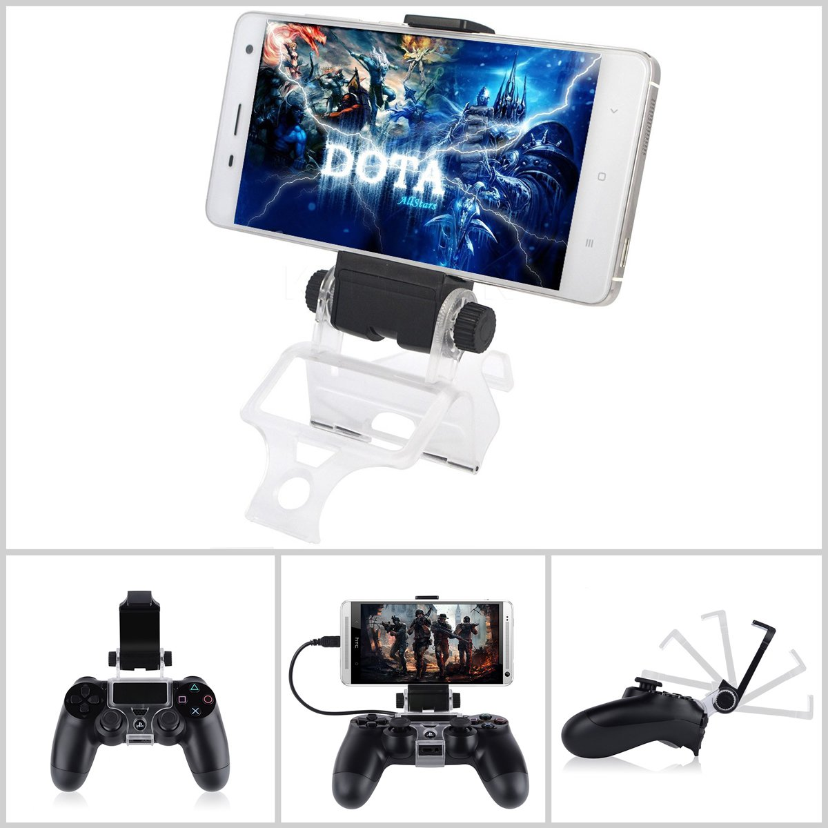 PS4 Controller Phone Mount, Megadream 180 Degree Adjustable Android Smartphone Game Clip Bracket Holder for PS4, PS4 Slim, PS4 Pro, Samsung Galaxy, HTC One, LG, Sony Xperia, Moto (PS4 Mount) by Megadream