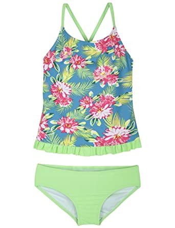 5641faf2f132d Firpearl Girls Two Piece Swimsuit Rainbow Horse Print Flounce Tankini Kids  Swimwear Green&Red Floral S/