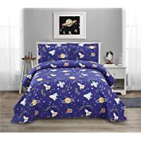 Yc 3-Piece Universe Quilt Set Twin Size Cartoon Summer Quilt for Boys Navy Blue Color Soft Microfiber Lightweight Coverlet Reversible Adult Aviation Bedspread for All Season -1 Quilt +2 Pillow Shams