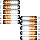 10pcs Super Thin 6-LED Amber/White Car Truck Warning Caution Emergency Construction Strobe Light Bar