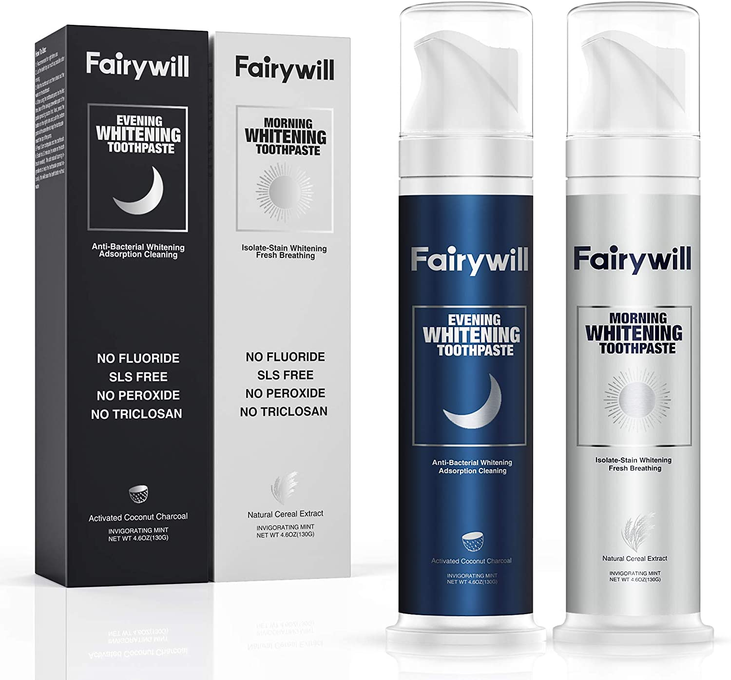Natural Whitening Toothpaste Sets, Activated Charcoal Teeth Whitening Toothpaste Removes Stains, Fairywill Whitening Toothpaste Freshens Breath, No Fluoride, Nature Organic Teeth Whitener, 2 Pack