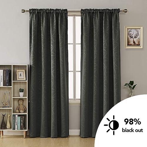 Deconovo Geometric Pattern Blackout-Rod Pocket Texture Embossed Darkening Window Curtains for Nursery Room 2 Panels, 52×84 Inch, Dark Grey