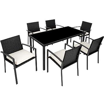 TecTake 800663 - Conjunto Muebles Jardín de Poliratán, Set 6 Sillas y 1 Mesa, Tornillos de Acero Inoxidable (Negro | No. 403027)