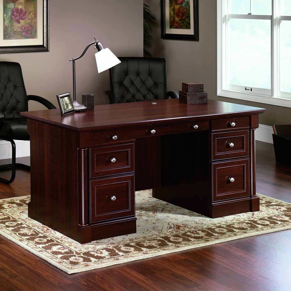 Amazon.com: Sauder Palladia Executive Desk, Cherry: Kitchen & Dining