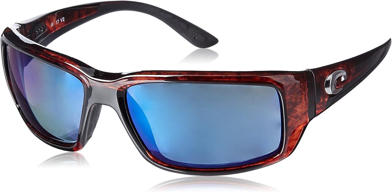 Costa Del Mar Men's Fantail 580P Polarized Rectangular Sunglasses, Tortoise/Grey Blue Mirrored Polarized-580P, 59 mm