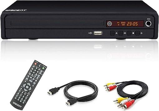 Reproductor de DVD Compacto, Reproductores de CD/DVD / MP3, Puerto HDMI y Cable de Audio RCA para conectar el televisor, múltiples regiones, Puerto USB, Control Remoto (no se admite el Disco BLU-Ray):