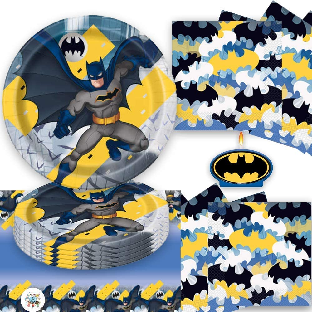 by Another Dream Table Cover Napkins Batman Candle and an Exclusive Pin Batman Birthday Party Supplies Pack For 16 Guests With Batman Plates