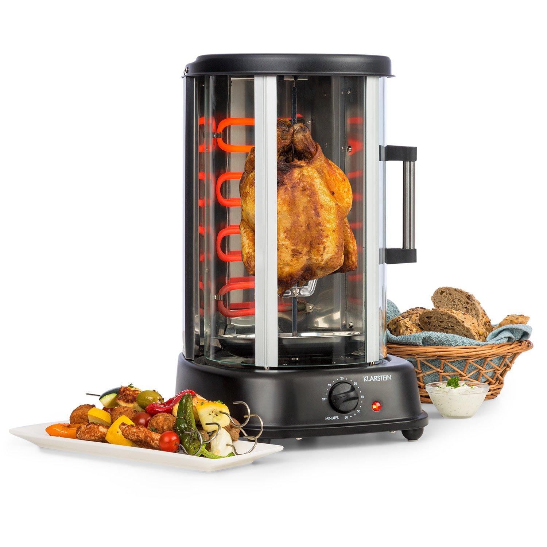 Klarstein Kebab Master Pro Vertical Rotisserie • Kabob-Grill • Kabob Skewer • Rotating Oven • Timer • Max 1500W • Up to 464°F • 22 qt • Stainless Steel • for shawarma, kebob, turkey or fish • Black by KLARSTEIN (Image #1)