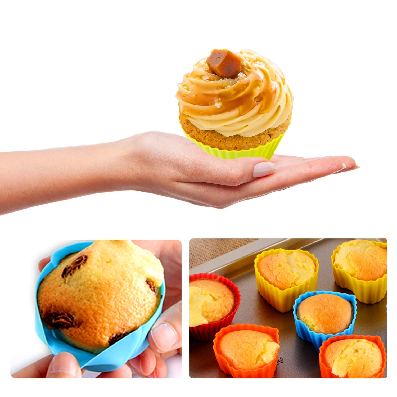 WARMWIND Silicone Muffin Cups, Food Grade Cupcake Baking Mold, 36-Pack Cake Cup Sets, Reusable Baking Cups, Non-Stick Cupcake Liners, Dishwasher Safe by WARMWIND (Image #3)