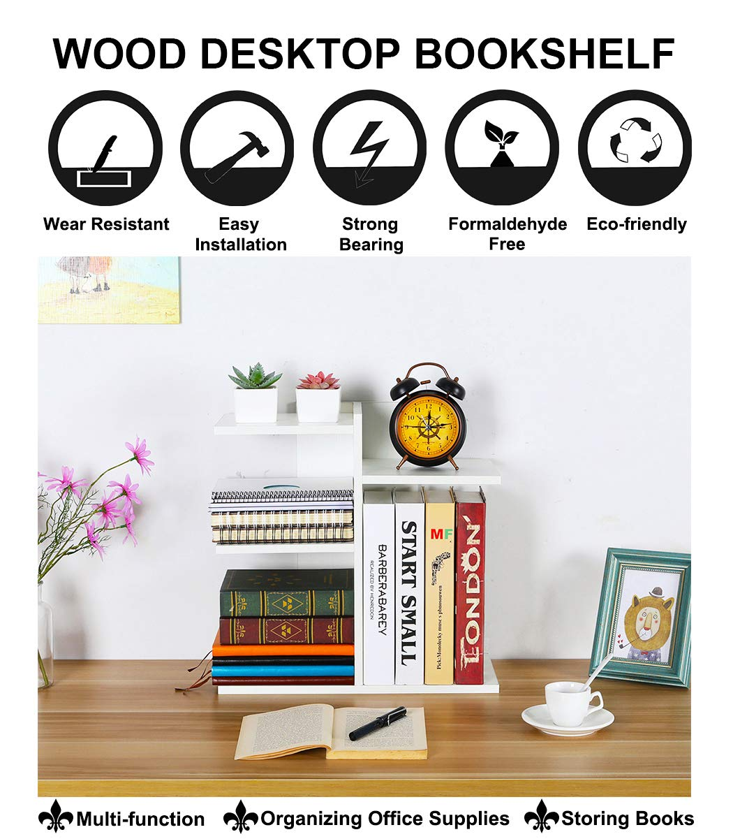 PAG Wood Desktop Bookshelf Assembled Countertop Bookcase Literature Holder Accessories Display Rack Office Supplies Desk Organizer, White by PAG (Image #2)