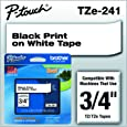 "Brother P-touch Genuine TZe-241, ~3/4"" (0.7"") Black on White Standard Laminated Tape –26.2 ft(8m) (TZE241)"