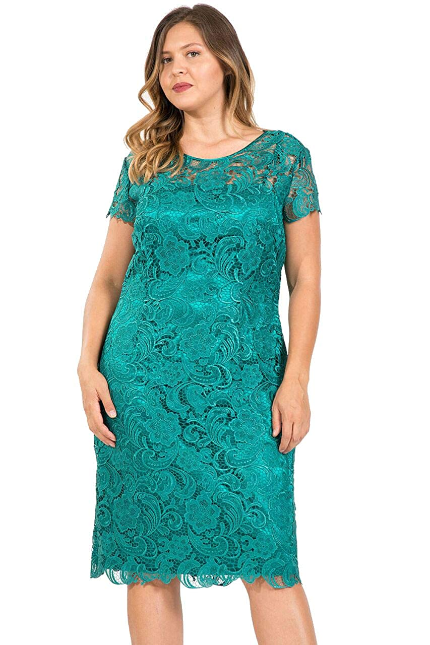 a76650f85f99 The Dress Outlet Mother of The Bride Lace Plus Size Short Dress at Amazon  Women's Clothing store: