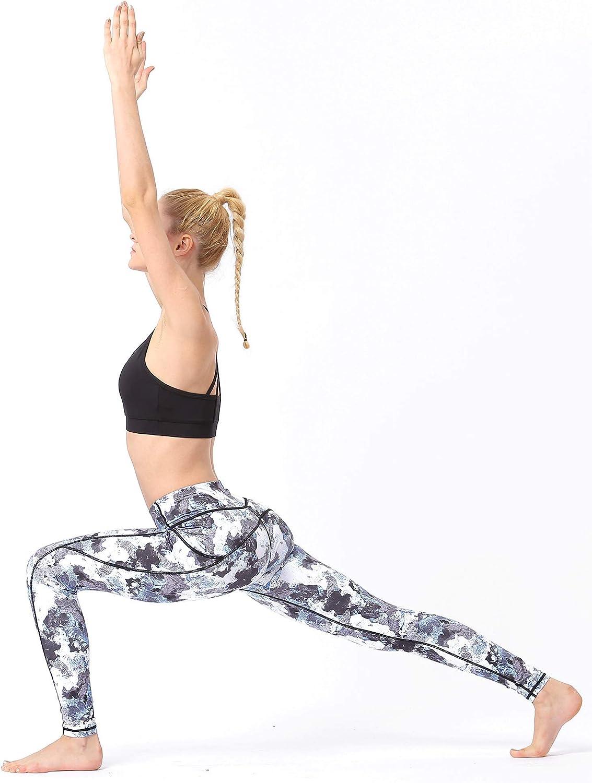 BUZZYFUZZY Womens High Waist Print Yoga Pants with Pockets Tummy Control Workout Leggings
