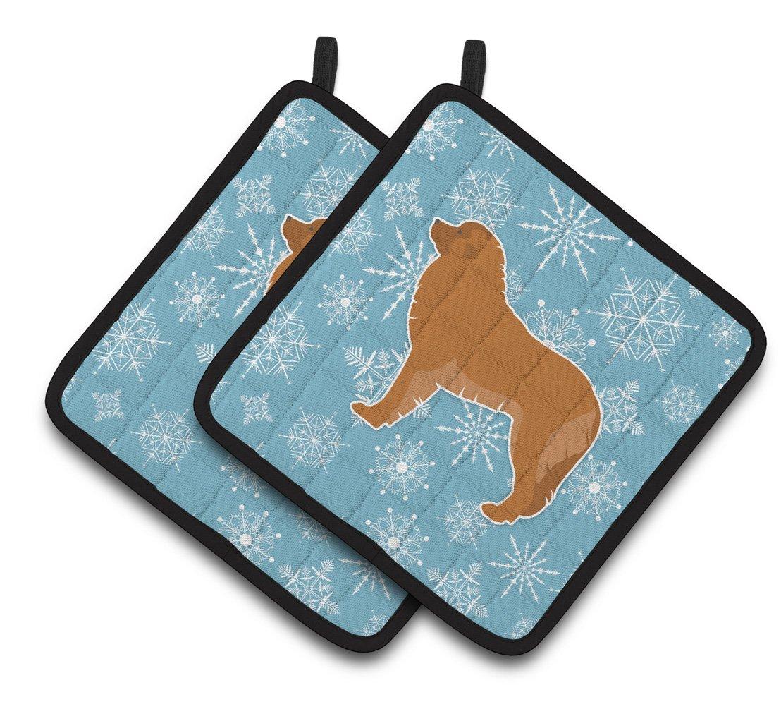 Carolines Treasures Winter Snowflake Leonberger Pair of Pot Holders BB3558PTHD Multicolor 7.5HX7.5W