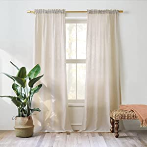Valea Home Linen Curtains Panel 84 inch Long Light Filtering Rod Pocket Crude Drapes for Bedroom Living Room Farmhouse Long Window Curtains, Natural, 1 Panel