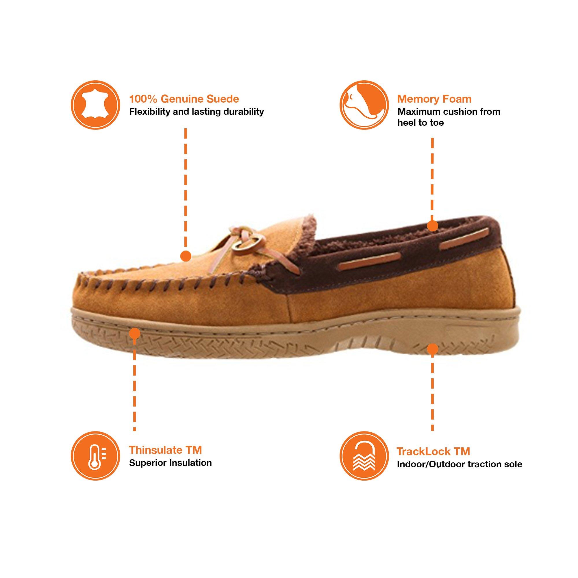 Heat Edge Mens Memory Foam Suede Slip on Indoor/Outdoor Moccasin Slipper Shoe (11, Tan) by Heat Edge (Image #5)