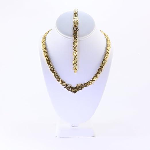 Bottes Hugs /& Kisses collier bracelet Set Acier Inoxydable or 2 tons deux ensembles
