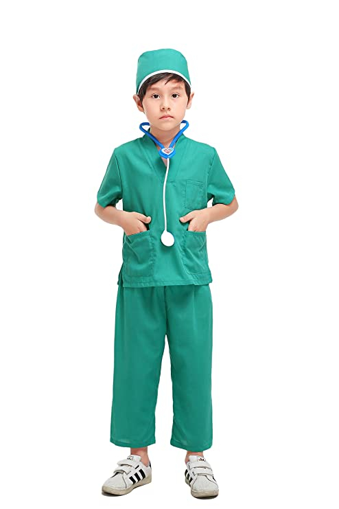 YOLSUN Doctor Role Play Costume Set for Kids, Boys' and Girls' Doctor Dress up and Play Set (3 pcs) (6-7y, Green)