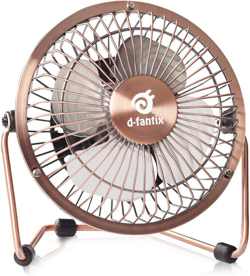 D-FantiX Small USB Desk Fan Quiet, 4 Inch Antique Metal Desktop Fan USB Powered Mini Personal Fan for Home, Office, Bedroom Bronze