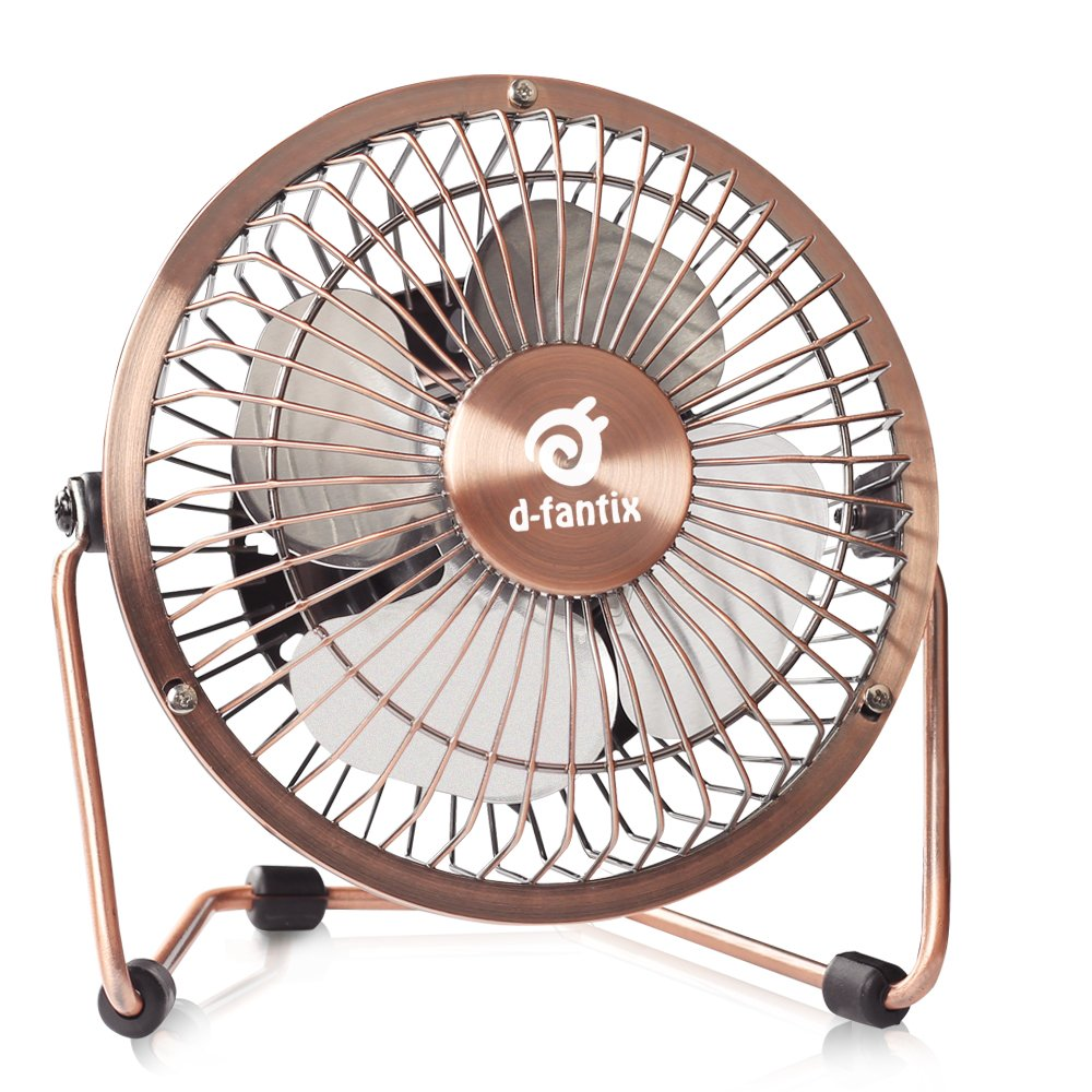 D-FantiX Small USB Desk Fan Quiet, 4 Inch Antique Metal Desktop Fan USB Powered Mini Personal Fan for Home, Office, Bedroom (Bronze)
