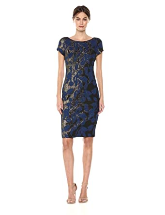 a34ca6d1 Adrianna Papell Women's Metallic Floral Jacquard Sheath Dress with Short  Sleeves, Navy, ...