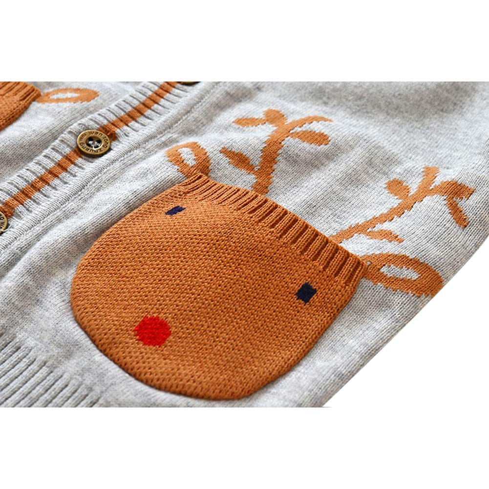 Toddlers Baby Girls Boys Cardigan Knitted Sweater Christmas Jacket Long Sleeve Sweatshirt Deer Pockets