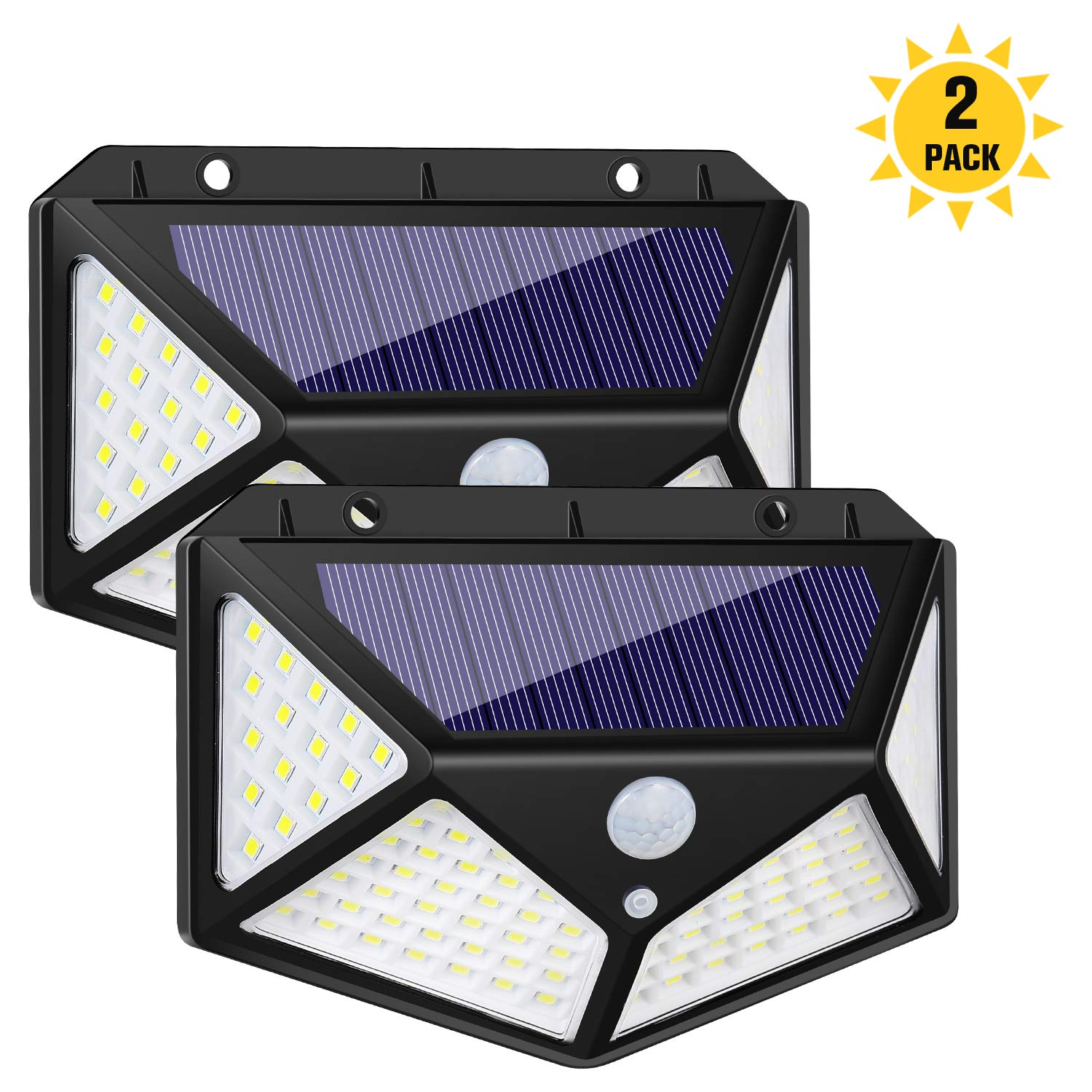 Wide Angle Outdoor Solar Light, 100 LED Super Bright, Motion Sensor Light with 3 Working Modes, Wireless Solar Powered Security Wall Light for Front Door, Backyard, Garage, Pathway, Porch and More, Bl by kozyone