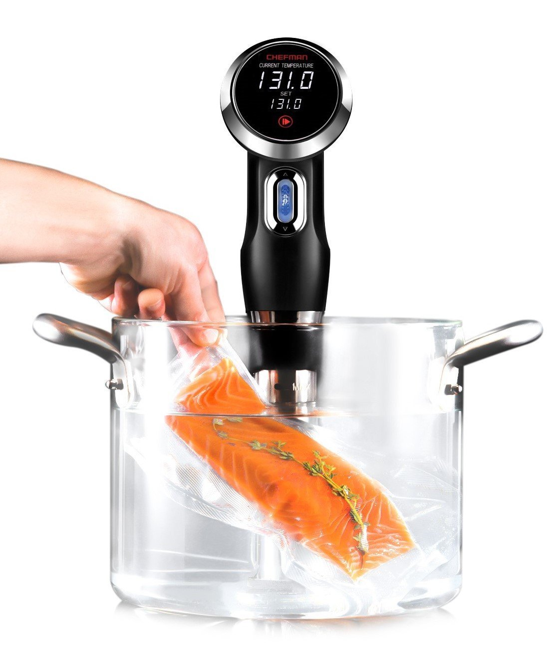 Chefman Sous Vide Immersion Circulator w/Precise Temperature, Programmable Digital Touch Screen Display and Easy to Use Controls, Black