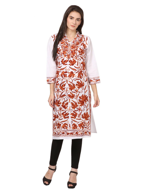 saadgi Women's Chikankari Embroidered Handwork Pure Cotton Chikan Kurta Large White